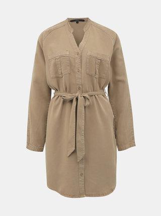 Hnedé košeľové šaty Vero Moda Saffi