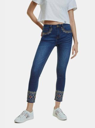 Modré zkrácené skinny fit džíny Desigual Floyer