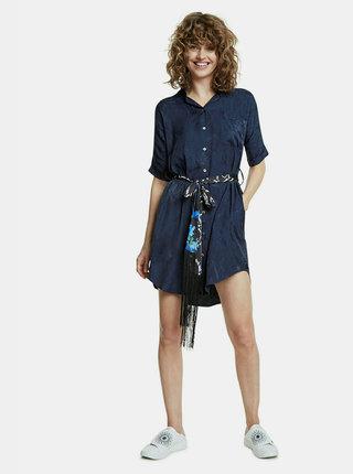 Tmavomodré vzorované košeľové šaty Desigual