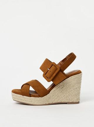 Hnědé sandálky na klínku v semišové úpravě  Xti