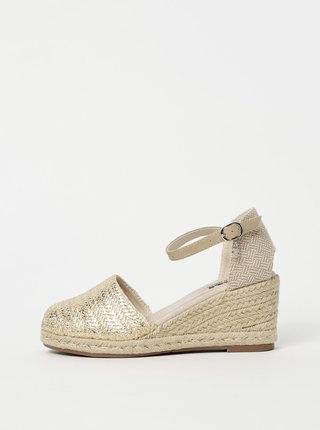 Sandálky na klínku ve zlato-béžové barvě Xti