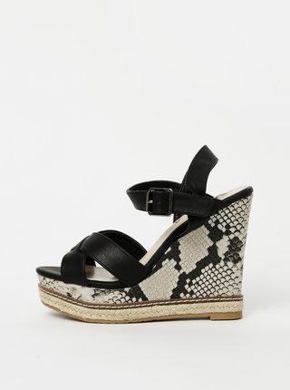 Čierne sandálky na plnom podpätku s hadím vzorom Xti