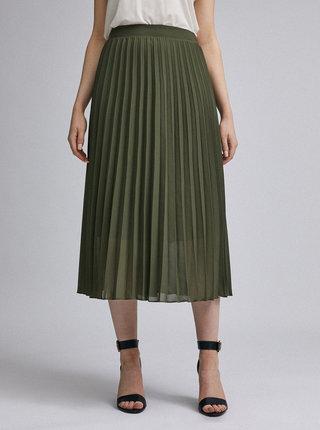 Kaki plisovaná midi sukňa Dorothy Perkins