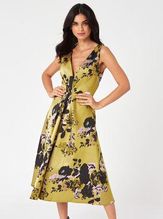 Žluté květované midišaty Little Mistress