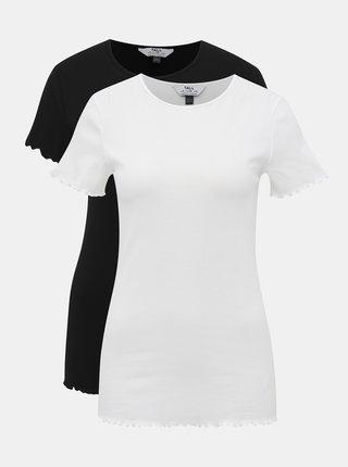 Sada dvoch tričiek v čiernej a bielej farbe Dorothy Perkins Tall