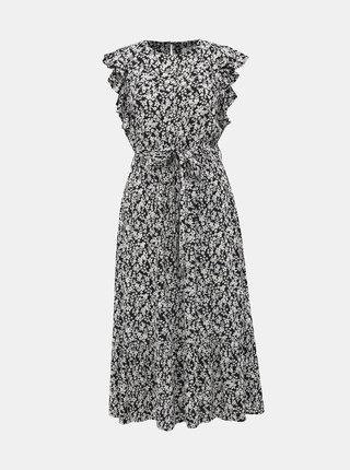 Čierno-biele kvetované midišaty Dorothy Perkins Petite