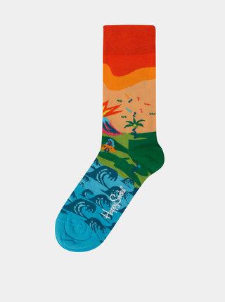Oranžovo-modré dámske ponožky Happy Socks Tropical Island
