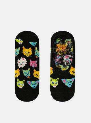 Černé dámské nízké vzorované ponožky Happy Socks Funny Cat