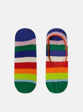 Červeno-zelené dámske nízke pruhované ponožky Happy Socks Stripe