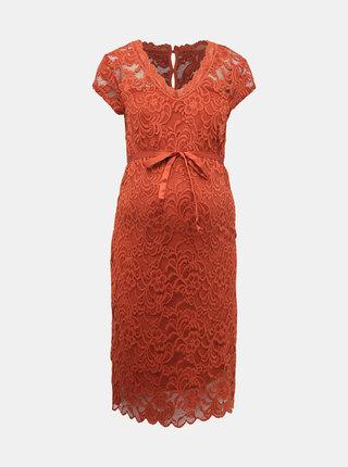 Cihlové krajkové těhotenské šaty Mama.licious New Mivana