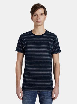 Tmavomodré pánske pruhované tričko Tom Tailor Denim