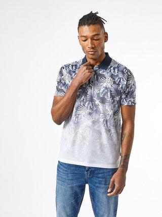 Modro-šedé vzorované polo tričko Burton Menswear London