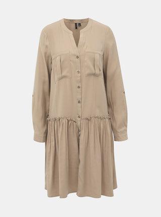 Béžové košeľové šaty VERO MODA Michalla