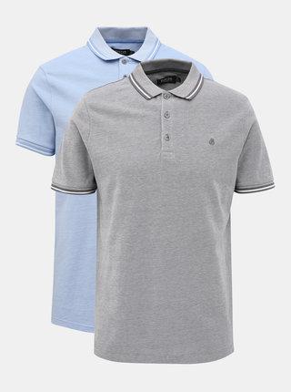 Sada dvou polo triček v šedé a modré barvě Burton Menswear London