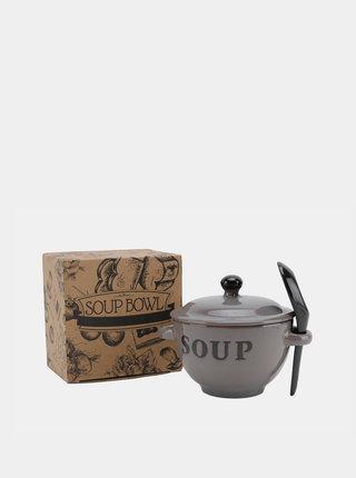 Šedá keramická miska na polévku CGB