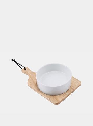 Bílá miska s dřevěným prkénkem CGB