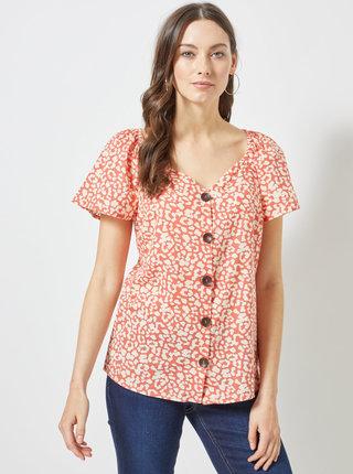 Krémovo–oranžová blúzka s leopardím vzorom Dorothy Perkins