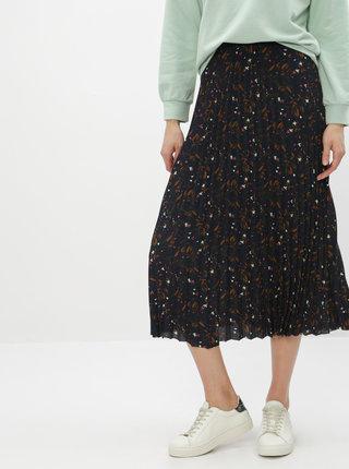 Tmavě modrá květovaná plisovaná sukně Selected Femme Josie