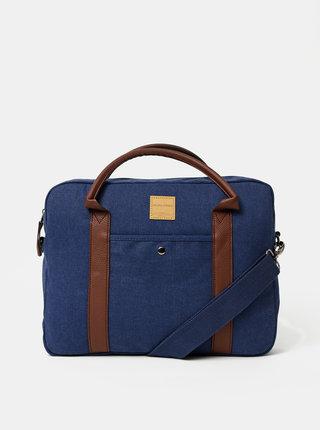 Modrá taška na notebook Jack & Jones Canvas