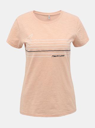 Ružové tričko s potlačou ONLY Bone