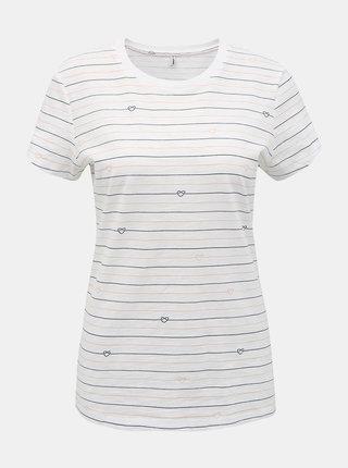 Biele pruhované tričko ONLY Bone