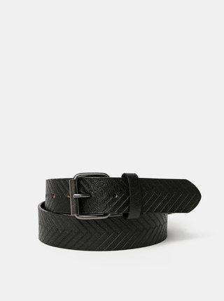 Čierny kožený vzorovaný opasok Jack & Jones Phil