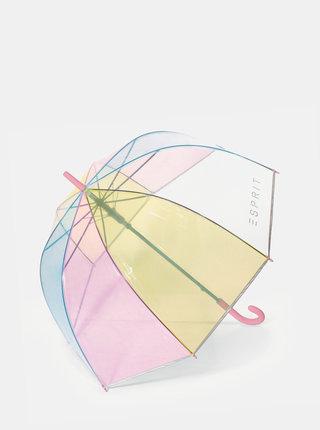 Transparentní dámský pruhovaný dámský deštník Esprit