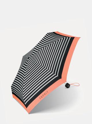 Černý dámský skládací pruhovaný deštník Esprit