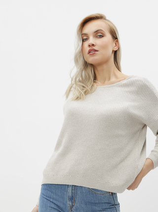 Béžový obojstranný basic sveter ONLY Fbrynn