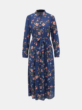 Modré květované košilové maxišaty ONLY Claire