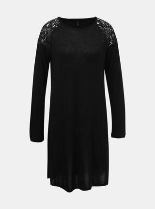 Černé svetrové šaty s krajkou ONLY Karla