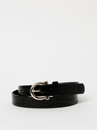 Černý dámský kožený pásek s krokodýlím vzorem Haily´s Zola