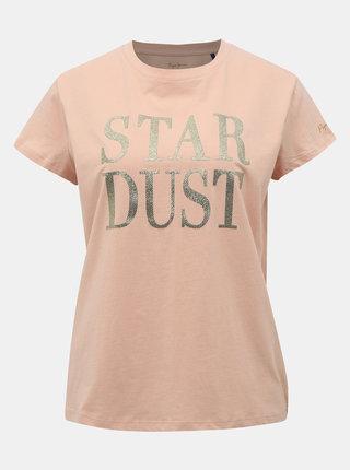 Světle růžové dámské tričko s potiskem Pepe Jeans