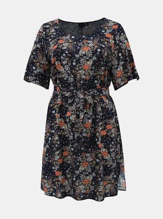 Tmavomodré kvetované šaty Zizzi Viga