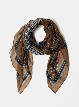 Hnědý vzorovaný šátek Pieces Nanna