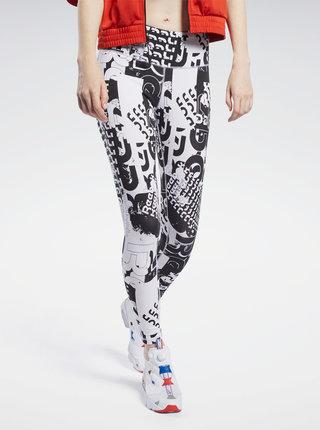 Bílo-černé dámské vzorované sportovní legíny Reebok