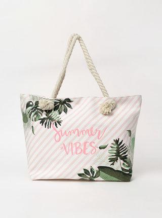Krémová dámska vzorovaná plážová taška Haily´s Summer Vibes