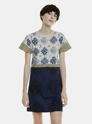 Béžovo-modré vzorované šaty Desigual