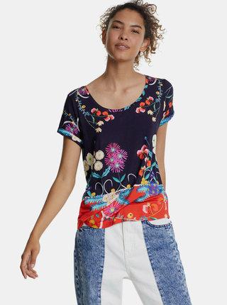 Fialové vzorované tričko Desigual