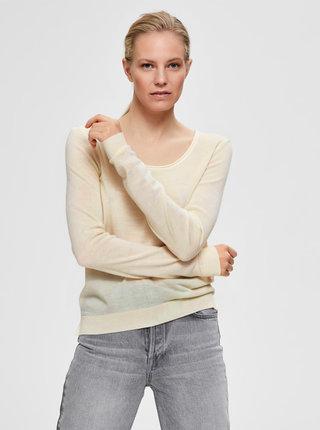 Krémový ľahký sveter z Merino vlny Selected Femme Tower