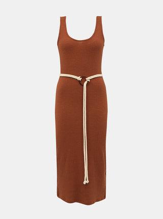 Hnedé rebrované šaty s opaskom Alcott