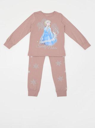 Starorůžové holčičí dvojdílné pyžamo s potiskem name it Disney Frozen Cait