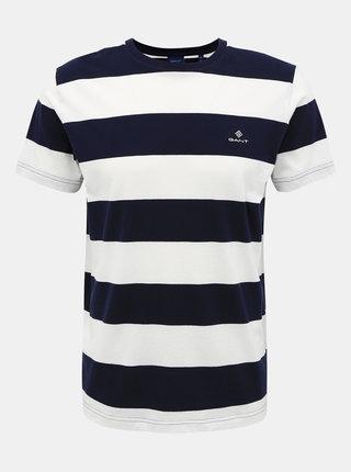 Bílo-modré pánské pruhované basic tričko GANT