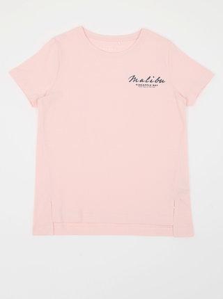 Růžové holčičí puntíkované tričko s potiskem name it Via