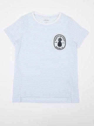 Světle modré holčičí pruhované tričko s potiskem name it Via