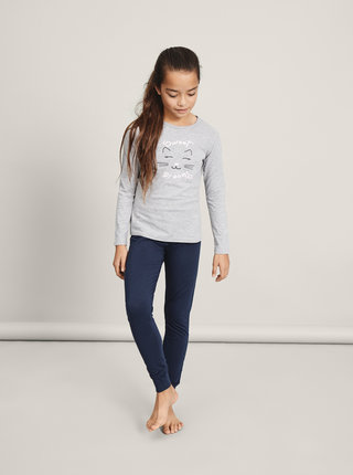 Modro-šedé holčičí dvoudílné pyžamo name it Night Set