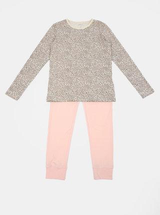 Růžovo-hnědé holčičí dvojdílné pyžamo s leopardím vzorem name it NIght Set