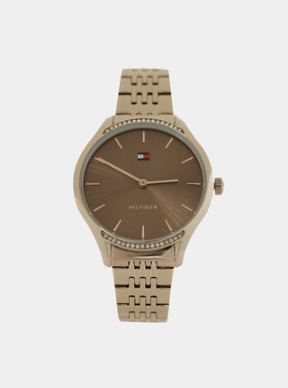 Dámske hodinky s kovovým remienkom v zlatej farbe Tommy Hilfiger