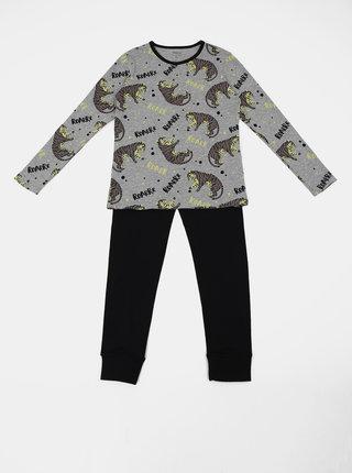 Černo-šedé klučičí vzorované dvojdílné pyžamo name it Night Set