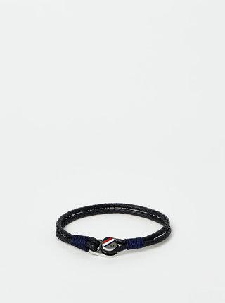 Tmavě modrý pánský kožený náramek Tommy Hilfiger